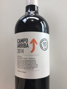 Front label of 2014 Campo Arriba red wine from Costco