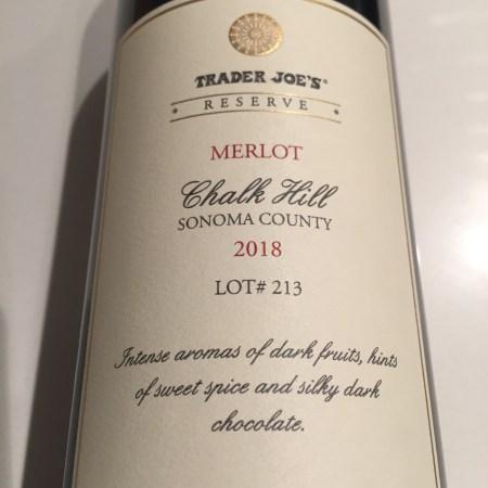 Front label of bottle of 2018 Trader Joe's Reserve Chalk Hill Sonoma County Merlot