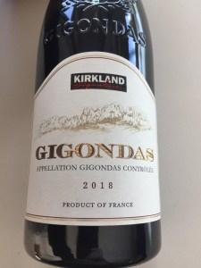Front label of 2018 Kirkland Signature Gigondas