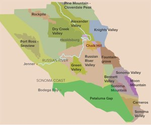 Map showing Knights Valley AVA in Sonoma County