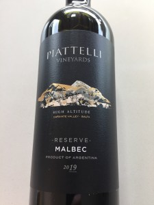 Front label of Piatelli Vineyards 2019 Malbec from Costco