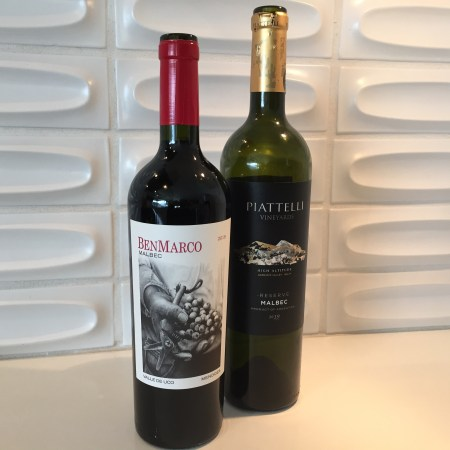 Bottle of Ben Marco 2018 Malbec (left)and Piatelli Vineyards 2019 Malbec. Both from Argentina and Costco.