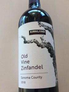 Front label of Kirkland Signature 2018 Zinfandel from Costco