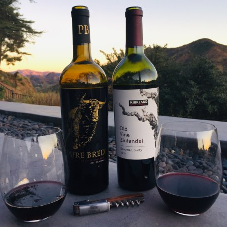 Bottles and glasses of Old Vine Zinfandel