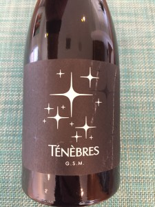 Front label of 2019 Tenebres GSM red wine from Trader Joe's