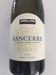 Front label of Kirkland Signature 2019 Sancerre from Costco