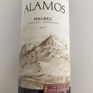 Front label of 2019 Malbec from Alamos, from Trader Joe's via Mendoza, Argentina