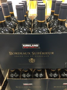 Case stacked Kirkland Signature 2018 Bordeaux Superieur at Costco