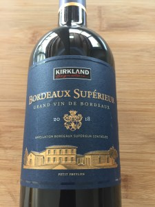 Front label of Kirkland Signature 2018 Bordeaux Superieur