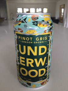 A 375ml can of Underwood Pinot Gris from Trader Joe's