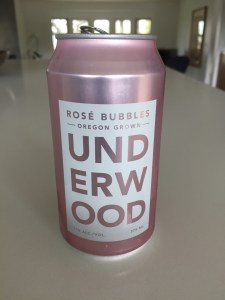 A 375ml can of Underwood sparkling rose wine from Trader Joe's