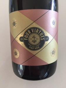 Front label of 2018 Four Virtues Monterey County Pinot Noir
