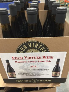 Costco display of Four Virtues 2018 Pinot Noir