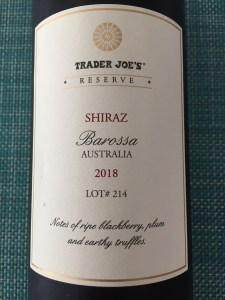Front label of the Trader Joe's Reserve 2018 Shiraz from Barossa Valley, Australia - a steal at $9.99