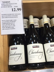 Display of bottles of Kirkland Signature 2019 Russian River Valley (Sonoma County) Chardonnay at Costco
