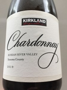 Front label of bottle of Kirkland Signature 2019 Russian River Valley (Sonoma County) Chardonnay
