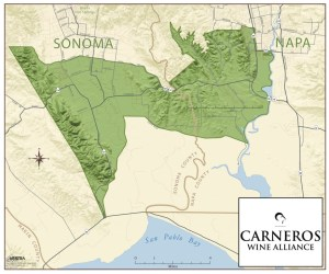 """Map of the """"land bridge"""" spanning Sonoma and Napa Valley that is the Carneros AVA"""