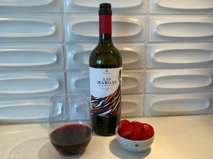 Bottle and glass of Las Margas 2018 Garnacha from Trader Joe's, a mouthful of red berry flavors!