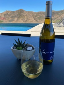 Bottle and glass of 2018 Laguna Chardonnay from Costco, poolside