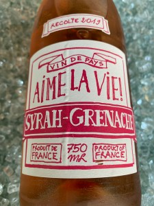 Front label of 2019 Aime La Vie! rosé of Syrah-Grenache from Trader Joe's