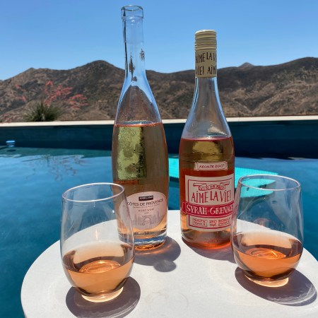 Perfect poolside sippers - both roséwines - one from Costco and one from Trader Joe's