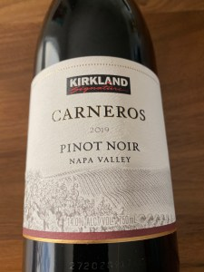 Front label of Kirkland Signature 2019 Carneros Pinot Noir from Costco.