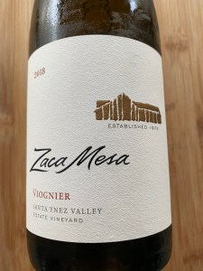 Front label of Zaca Mesa 2018 Viognier.