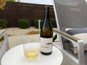 Bottle and glass of Zaca Mesa 2018 Viognier from Costco.