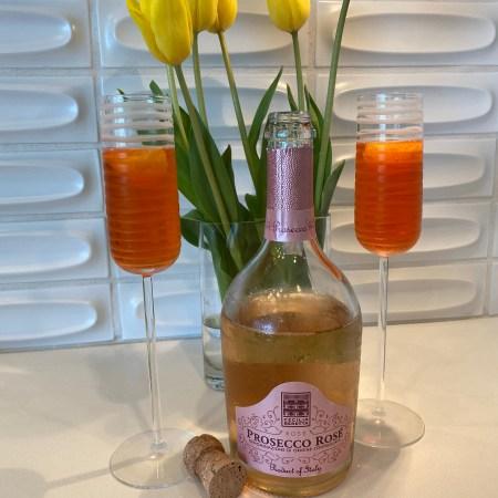 Prosecco+Aperol+Seltzer+tangerine garnish=Aperol Spritz or, summer in a glass!