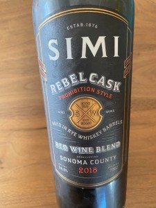 Front label of 2018 Simi Winery Rebel Cask red wine blend $9.99 at Costco after $5 discount.