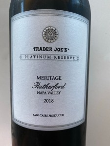 The front label of this 2018 Trader Joe's Platinum Reserve Meritage from the Rutherford AVA in the Napa Valley.
