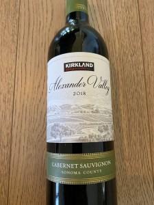 Front label of Kirkland Signature 2018 Alexander Valley Cabernet Sauvignon.