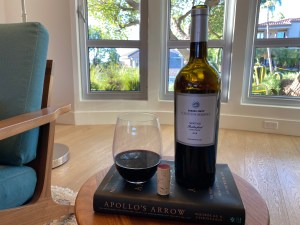 Bottle and glass of the 2018 Trader Joe's $14.99 Platinum Reserve Meritage from the Rutherford AVA in the Napa Valley.
