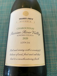 Front label of 2020 Trader Joe's Reserve Chardonnay, Russian River Valley, Sonoma County, California.