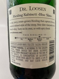 Back label of Dr. Loosen 2020 Blue Slate Riesling Kabinett from Costco