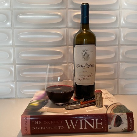 Bottle and glass of 2017 Chateau Ste. Michelle, Merlot, Columbia Valley, WA - $8.69 at Costco