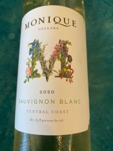 Front label of Monique Cellars 2020 Sauvignon Blanc from Trader Joe's