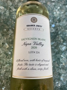 Bottle showing the front label of Trader Joe's Reserve Sauvignon Blanc Lot 224. Napa Valley juice for $9.99!