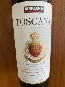 Front label of Kirkland Signature 2020 Toscana, complete with a coat of arms and phrases in Italian!