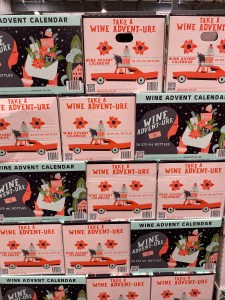 Stacked high. The annual display of the Wine Advent Calendar at Costco.