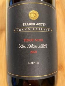 Front label of 2020 Trader Joe's Grand Reserve Pinot Noir Lot #106, Santa Rita Hills, California - $12.99 in California stores.